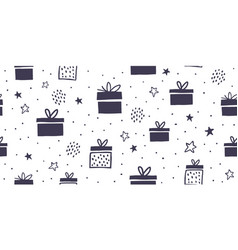 seamless pattern with black and white gift boxes vector image