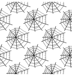 Seamless pattern with doodle spiderwebs vector