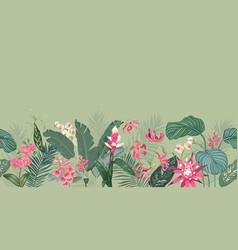 seamless tropical floral print with exotic flowers vector image