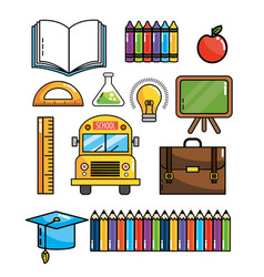 Set education supplies to back school knowledge vector