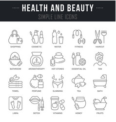 Set line icons health and beauty vector