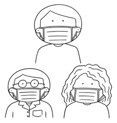 set of medical protective mask vector image