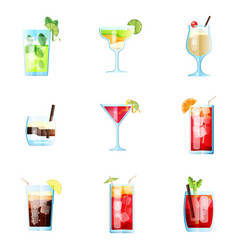 set of nine tropical cocktails mojito margarita vector image