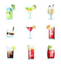 Set of nine tropical cocktails mojito margarita vector