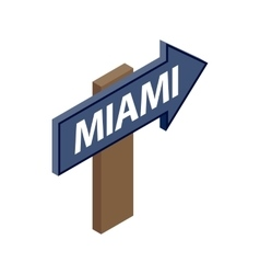 Sign arrow Miami icon isometric 3d style vector
