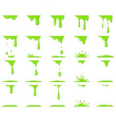 Slime animation dripping green cartoon drops vector