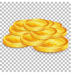 Stack bitcoins on transparent background vector