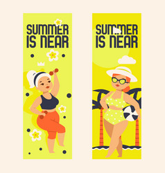 summer is near set banners vector image