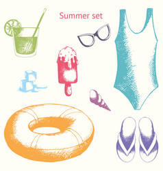 Summer set hand drawing vector
