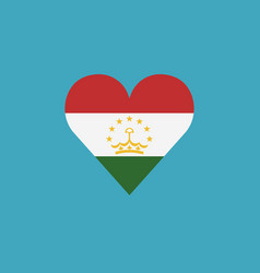 tajikistan flag icon in a heart shape in flat vector image
