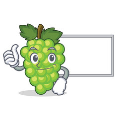 thumbs up with board green grapes character vector image