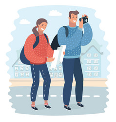Tourists with map and camera vector