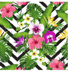 Tropical flowers and palm leaves on zig zag vector