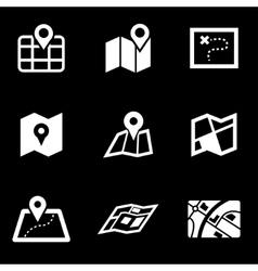 white map icon set vector image