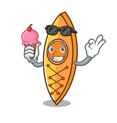 with ice cream canoe character cartoon style vector image