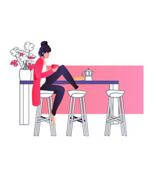 young woman sitting at kitchen and drinking coffee vector image