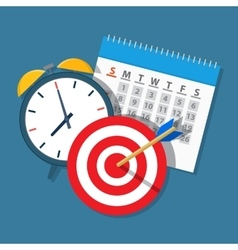 Alarm clock calendar target vector image vector image