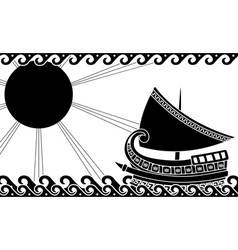 greek ship stencil black vector image vector image