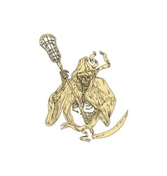 Grim Reaper Lacrosse Stick Drawing vector image vector image