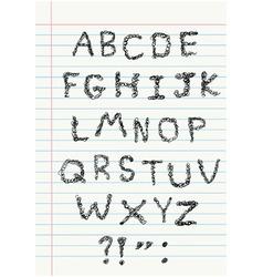 scribble alphabet on notebook vector image vector image