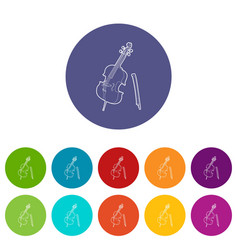 violin icons set color vector image