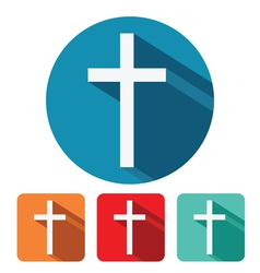 christian cross flat icon design vector image