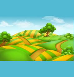 Farm field landscape 3d background vector