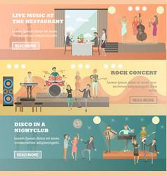 flat set of musicians concept horizontal vector image