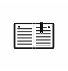 Open notebook with bookmark icon simple style vector image