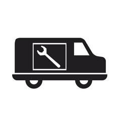 Truck plumbing repair service vehicle vector