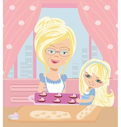 Grandma baking cookies with her granddaughter vector image vector image