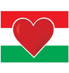 heart hungary flag vector image vector image