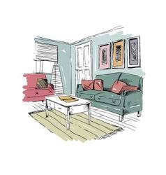 Living room design interior vector image