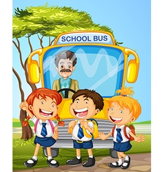 Students and school bus vector image