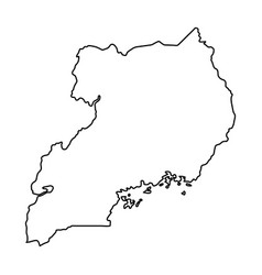uganda map of black contour curves on white vector image