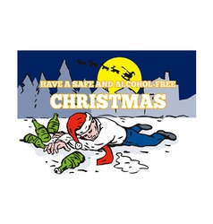 Drunk Man Wearing Santa Hat vector image