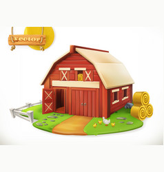 Farm red garden shed 3d icon vector
