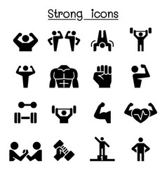 fitness strong icon set vector image