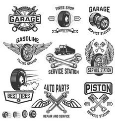 garage service station auto parts store filling vector image vector image