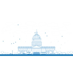 Outline Washington DC Capitol vector image