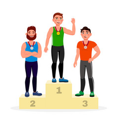winners with golden silver and bronze medals vector image