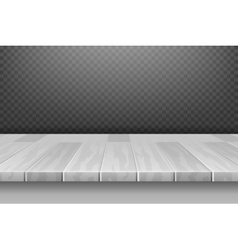 Wood white desk table top surface in perspective vector image