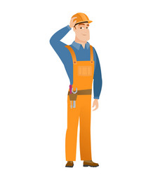 young caucasian builder in workwear and hard hat vector image vector image