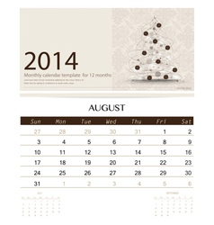 2014 calendar monthly calendar template for August vector image
