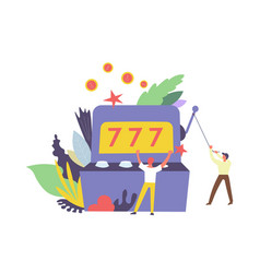 777 gambler and machine for winning money isolated vector