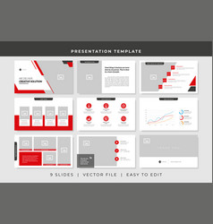 9 slides business powerpoint presentation template vector
