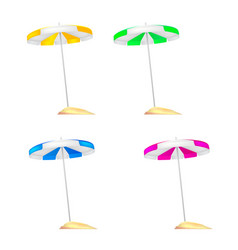 A set of colored beach umbrellas stuck in a small vector