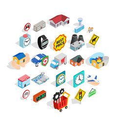 administrative center icons set isometric style vector image