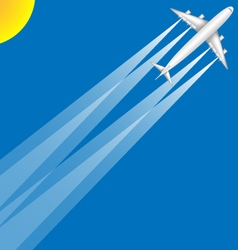 Airplane Jumbo Jet Summer Sun Blue Sky Scene vector
