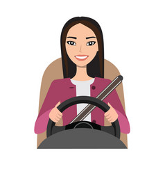 Asian woman driving a car woman clothing in vector